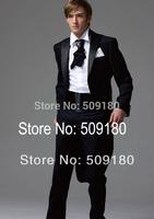 High quality wool black party customized tuxedo male suits 5 pieces(Coat+Pants+Vest+tie+Shirt) TZ028 groom suit