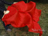 Real Silk fan veil For Belly Dance China Silk Veil Fan Red