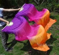 Real Silk fan veil For Belly Dance Thicker Silk Veil Fan Purple&Rose&Orange