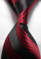 New Red Black Stripe Classic Woven Man Tie Necktie Holiday Gift #2059 Free Shipping