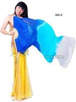 Real Silk Fan Veil For Belly Dance Thicker Silk Veil Fan Royal Blue & Sky Blue & White