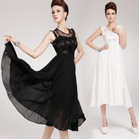 New Fashion 2014 Women's Elegant Summer Chiffon Sleeveless Lace Long Maxi Ruffle Evening Ball Gown Party Casual Dress 2 color