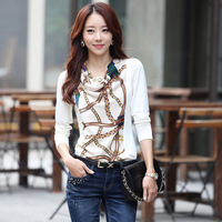 2014 spring women t-shirt female long-sleeve slim chiffon top basic print shirt plus size shirt