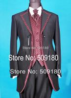 High quality wool black party customized tuxedo male suits 5 pieces(Coat+Pants+Vest+tie+Shirt) TZ031 groom suit wedding