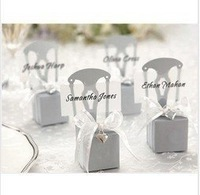 WEDDING FAVOR BOX !100pcs/lot silver chair Bomboniere Boxes/Place card Wedding /Free shipping