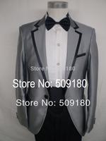High quality wool gray party customized tuxedo male suits 5 pieces(Coat+Pants+Vest+tie+Shirt) TZ032 groom designer suits
