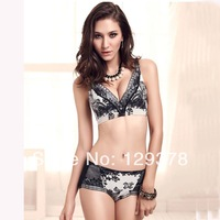 2014 New! Lady's Sexy Bra & Brief Sets Girls Corrective Underwear Bra High Quality Natural Ink Print Style Women Bra Brief Sets
