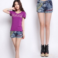HOT SALE Women's Fashion Slim Fit Chinese Style Shorts,Embroidery Torn Straight Denim Shorts  ,Free Shipping