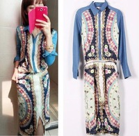 Hot 2014 Spring Summer Autumn European fashion denim blue print dress, brand split dress, long dress bohemian beach size S*M