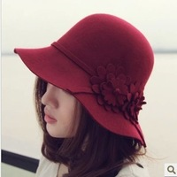Autumn and spring hat female woolen  flower bucket hats dome sun-shading wool felt hat fedoras