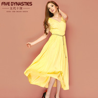 New 2014 spring summer women's clothing yellow solid color elegant high waist sweet V-neck pleated lacing dress EMS Freeshipping