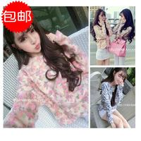 2014 spring and summer lace print top short design loose woolen sweatshirt
