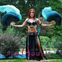 Real Silk fan veil For Belly Dance China Silk Veil Fan Black & Sky Blue