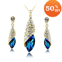 18colors gold plated leaf austrian crystal fashion jewelry set necklace earrings for women made with swarovski elements 63N01