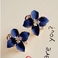 Free shipping Navy blue stereo scrub oil camellia crystal diamond  female fashion A1410