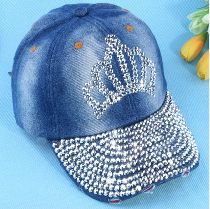 2014 NEW fashion Crown Rhinestone denim baseball cap sun visor cap men and women casual cowboy hat Handmade(China (Mainland))