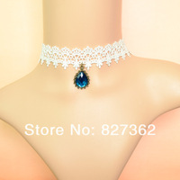 2014 wholesale cheap gold plated jewelry fashion drop blue sapphire stone necklace lace necklace chokers jewelry free shipping
