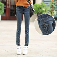306 autumn vintage buttons tight jeans female mid waist skinny pants trousers