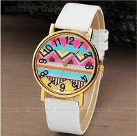 Popular Geneva Stripes Watch PU Leather Woman Man Analog Quartz Wrist Watches