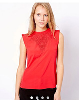 Newest 2014 Spring Summer Women Lace Ruffles Stand Collar Sleeveless Blouse,Ladies Fashion Pullovers Red/Black Shirts c314