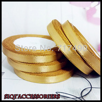 "Free shipping _(5roll/lot)1/8"" 10mm Shiny Phnom Penh Grosgrain Ribbon gold,Gift packaging / wedding decoration,Wholesale"