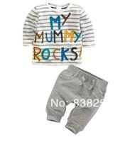 New 5pcs/1lot 2014 New children clothing sets boys striped long sleeve T-shirt +pants boys sets spring clothes