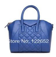 Famous brand new arrival 2014 fashional temperament plaid bag high quality genuine leather handbag free shipping B-87