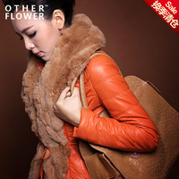 2013 winter ultralarge rex rabbit hair genuine leather clothing female short design slim PU wadded jacket thickening outerwear