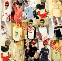 2014 lovers slim t-shirt personality trend of the long-sleeve t-shirt top male