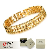 OPK JEWELRY 2014 Best Sell Luxury EU Style18K Real Gold plated 10mm Wide Bracelet Delicate Carving Attractive Jewelry, 403