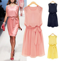Womens Chiffon Handmade Bead Shoulder Bow Belt Sleeveless Pleated Vest Dress 850
