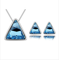 New 2014 Vintage Necklaces Fashion Items Bijouterie 18k Gold Plated Chain Bijoux Crystal Jewelry Sets Pendant Triangle Necklace