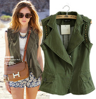New Arrival 2014 Spring Military Style Rivets Army Green Cargo Vest Coats Women Fashion Sleeveless Short Coats Outwears