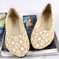 Chromophous 2014 Women color block decoration pointed toe shoes all-match velvet flat heel flat single shoes women's shoes