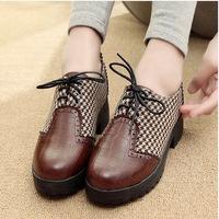 2014 spring plaid decorative pattern low-top shoes single shoes slip-resistant unisex female shoes