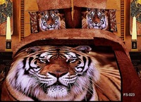 high quality free shipping 3D oil painting 100%cotton tiger leopard animalt bedclothes bedlinen duvet cover set bedding set