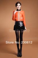 Spring 2014 Fashion Women Genuine Leather Jacket Short Real Leather Coat Women Leather Down Coat Jacket Women C0811