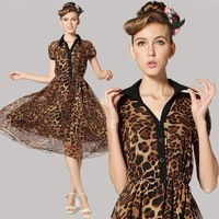 spring summer new fashion 2014 chiffon dresses Shirt collar korean sexy casual leopard dress women party club dresses 8212