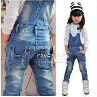 2014 spring female child jumpsuit child blue retro edging finishing jeans one piece bib pants
