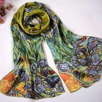 Hijab Promotion Cachecol Women free Ship Popular 2014 100% Silk Long Female Oil Painting Scarves Flower-de-luce Crepe Satin Cape