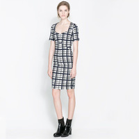 2014 spring new European style fashion short-sleeved plaid print dress WQZ12172