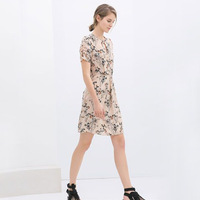 2014 spring new European style fashion short-sleeved print dress WQZ12178