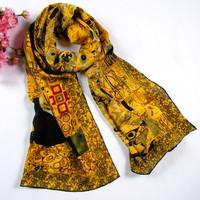 Free Ship Lady Scarf 2014 Silk Scarf Egypt Fashion Style Designer Oil Painting Silk Scarf Lady Long Mulberry Silk Scarf Jewelry