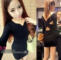 Ladies elegant 6386 after cross casual basic sweater one-piece dress