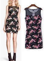 2014 New Women Spring Summer Sexy Lace O-neck Splice Flower print Sleeveless Slim Hip Mini Short Dresses Party Vest Dress Tops
