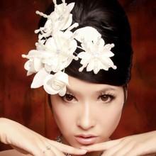 El precio de fábrica de accesorios de pelo al por mayor blanco perla novia decoración del pelo hecho a mano de la flor del pelo, envío 7.16869.Free(China (Mainland))