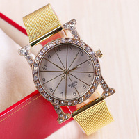 New Arrival Classic Women Fashion Digital Watch Golden Wrist Quartz Watch women rhinestone dress watches 1pcs/lot