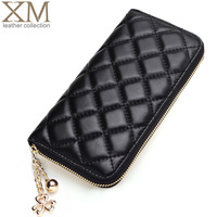 Genuine leather long wallet plaid design card case wallet large gauze horizontal zipper pocket sheepskin women's wallet