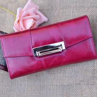 Genuine leather women's long design wallet fashion desigen multifunctional wallet free shipping