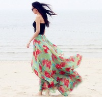 New 2014 spring summer women fashion floral patterns print floor-length chiffon long skirt plus size maxi casual skirts female